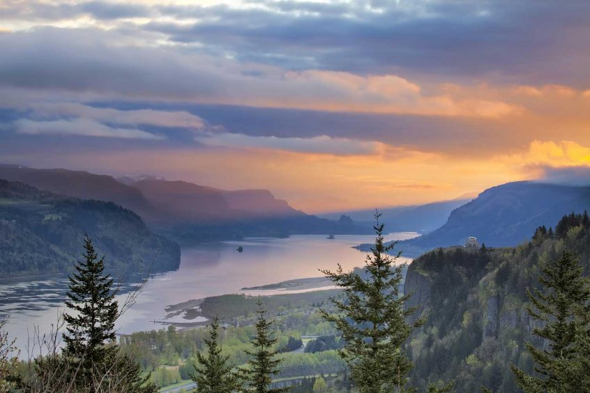 Burial Insurance Oregon Columbia Gorge painted sky
