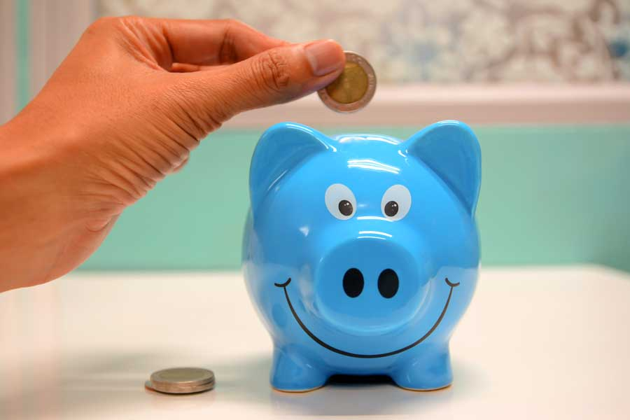 Blue piggy bank and money going into it