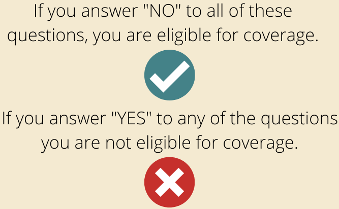 Health questions green check mark and red x