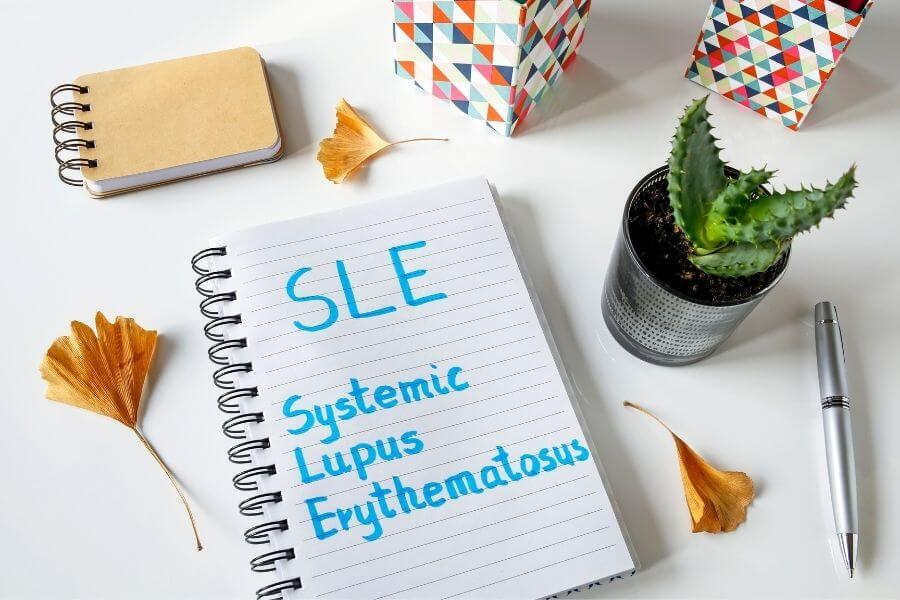 Journal with systemic lupus erythematosus SLE written in blue