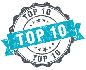 Green and black top 10 list logo