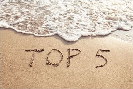 Top 5 written in the sand
