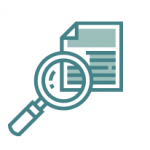 magnifying glass over paper icon