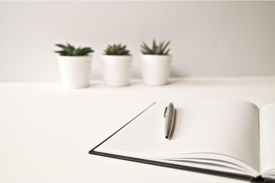 pen and paper on white table with succulents